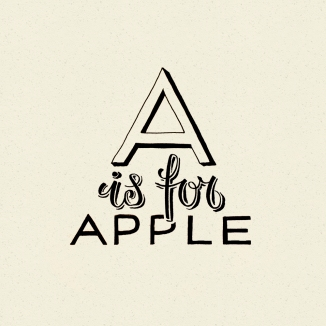 type, lettering, hand lettered, hand lettering, kelly spencer, typography, alphabet, illustration, apple, project